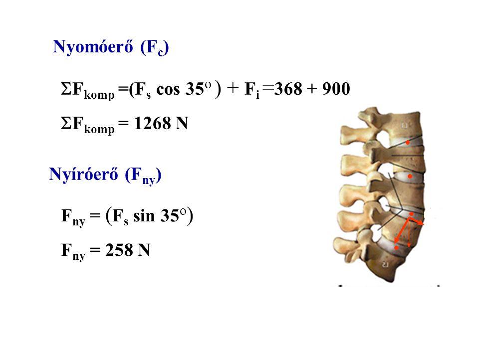 Nyomóerő (Fc) Fkomp =(Fs cos 35o ) + Fi =368 + 900. Fkomp = 1268 N. Nyíróerő (Fny) Fny = (Fs sin 35o)