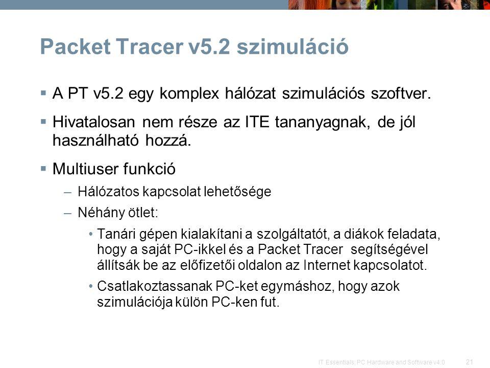 Packet Tracer v5.2 szimuláció