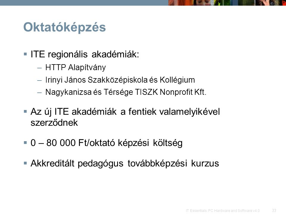 Oktatóképzés ITE regionális akadémiák: