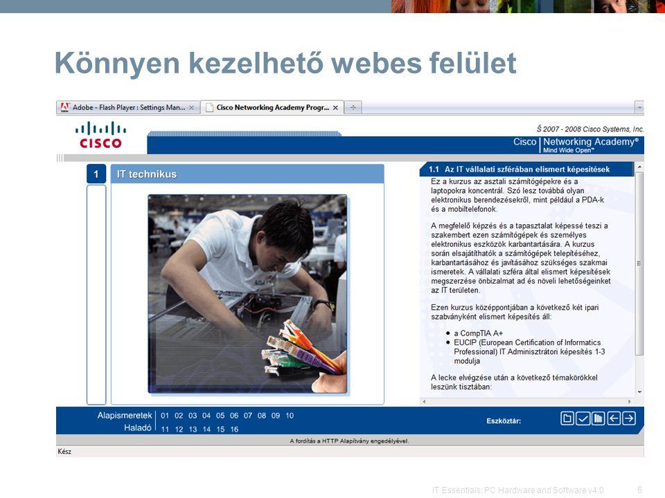 Könnyen kezelhető webes felület