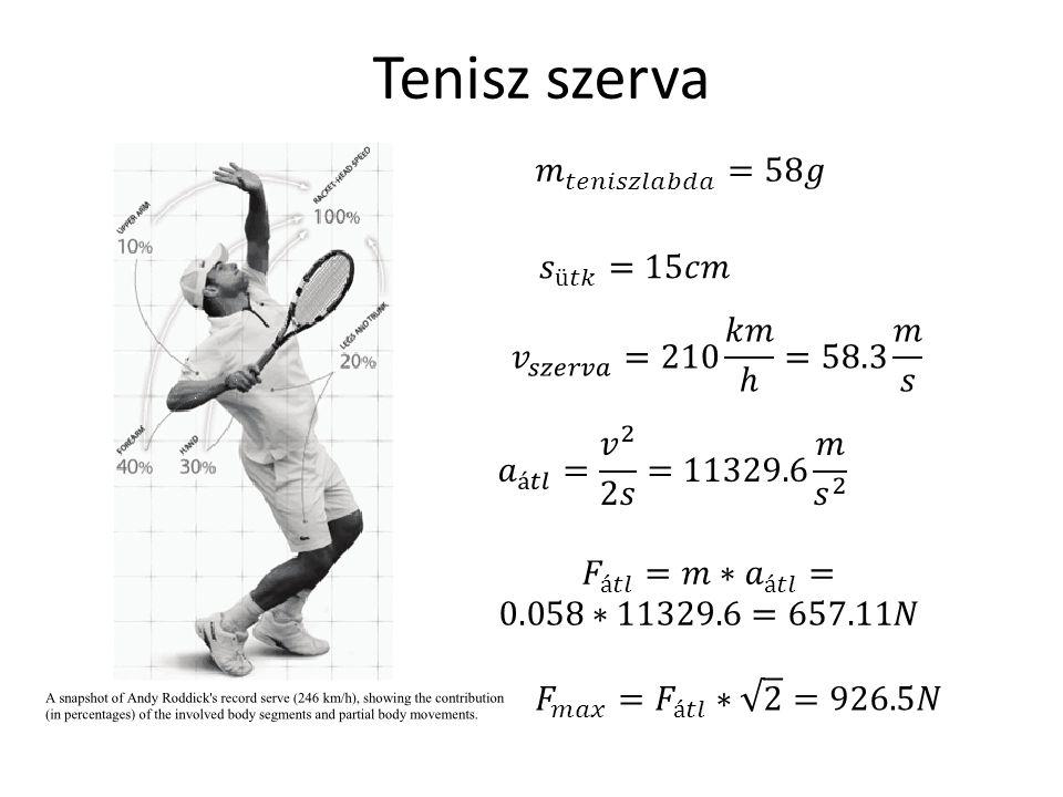 Tenisz szerva 𝑚 𝑡𝑒𝑛𝑖𝑠𝑧𝑙𝑎𝑏𝑑𝑎 =58𝑔 𝑠 ü𝑡𝑘 =15𝑐𝑚