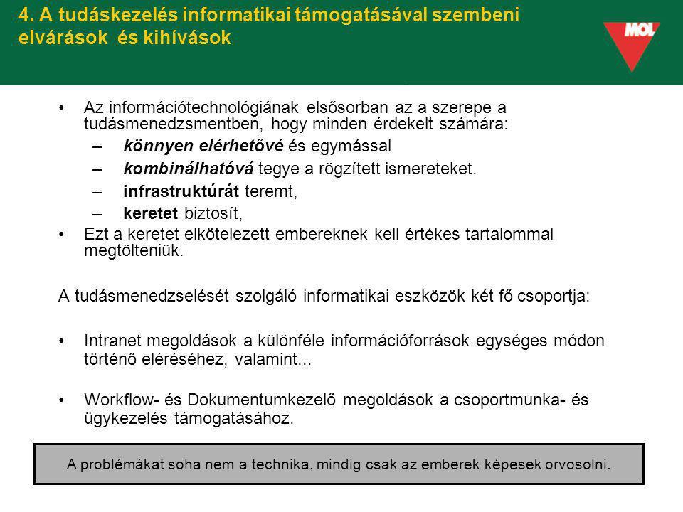 4. A tudáskezelés informatikai támogatásával szembeni elvárások és kihívások