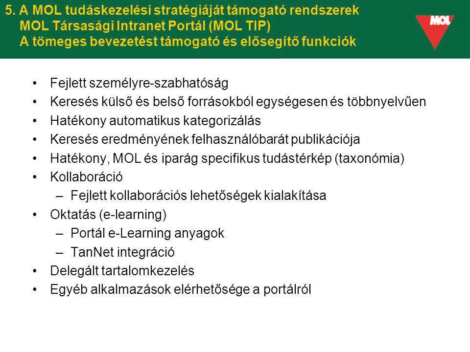 5. A MOL tudáskezelési stratégiáját támogató rendszerek MOL Társasági Intranet Portál (MOL TIP) A tömeges bevezetést támogató és elősegítő funkciók