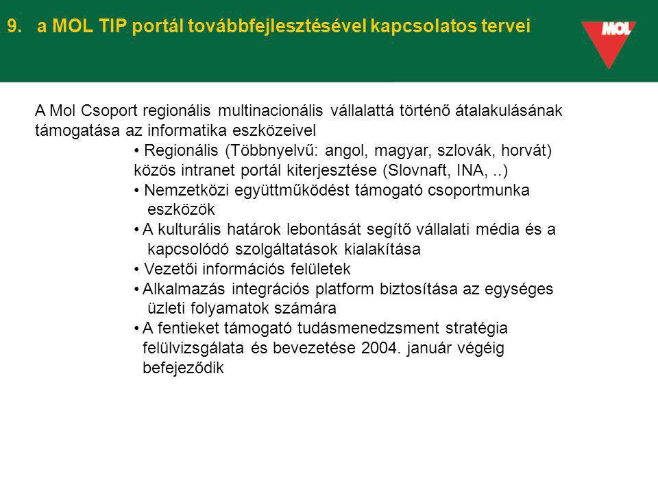 9. a MOL TIP portál továbbfejlesztésével kapcsolatos tervei