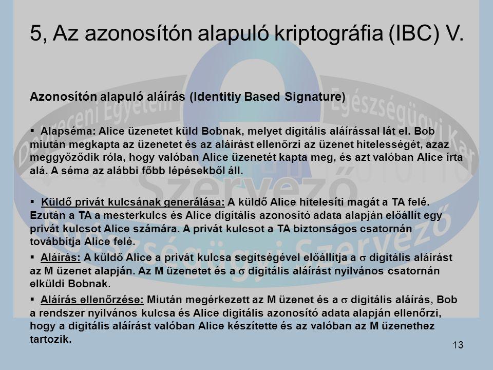 5, Az azonosítón alapuló kriptográfia (IBC) V.