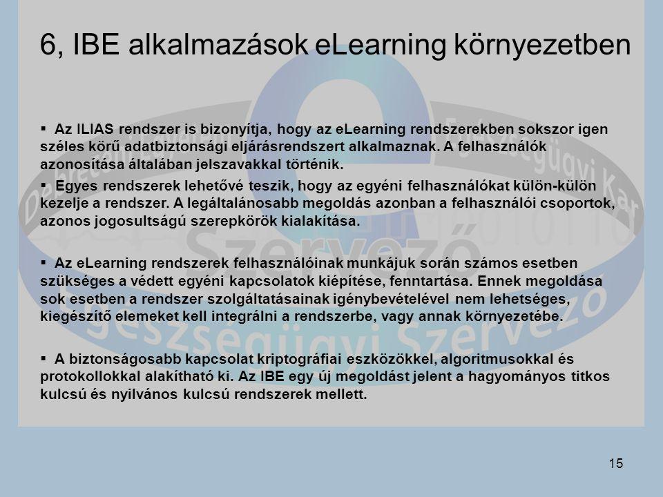 6, IBE alkalmazások eLearning környezetben