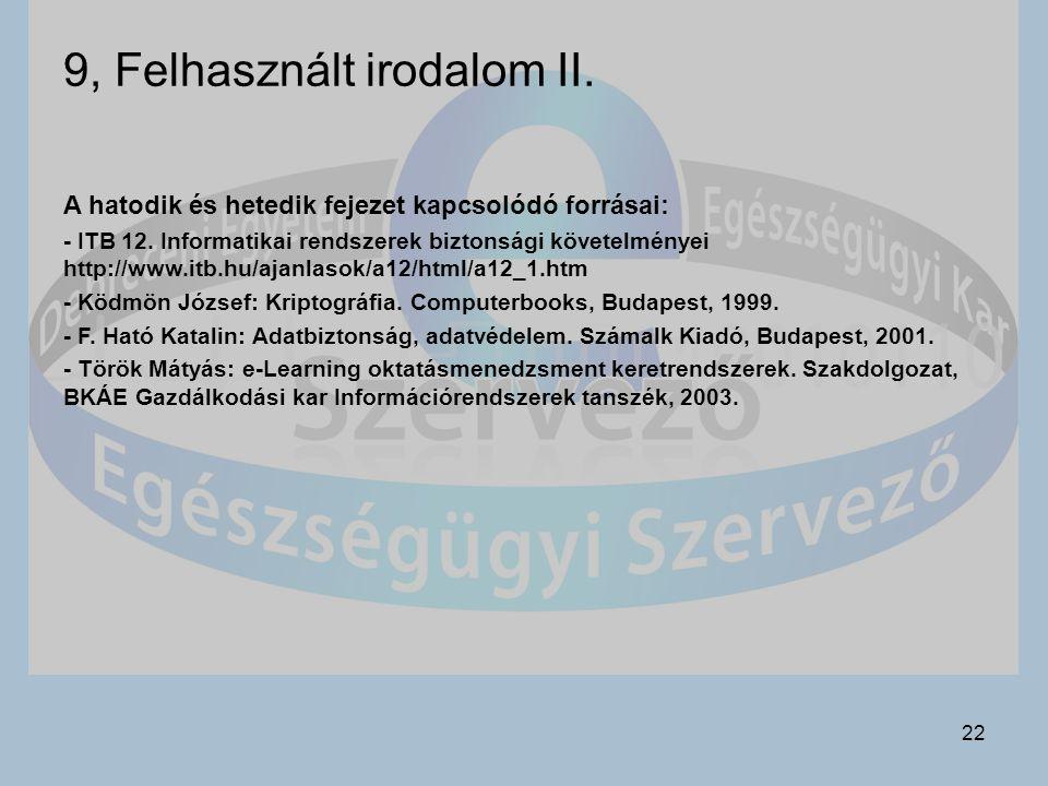 9, Felhasznált irodalom II.