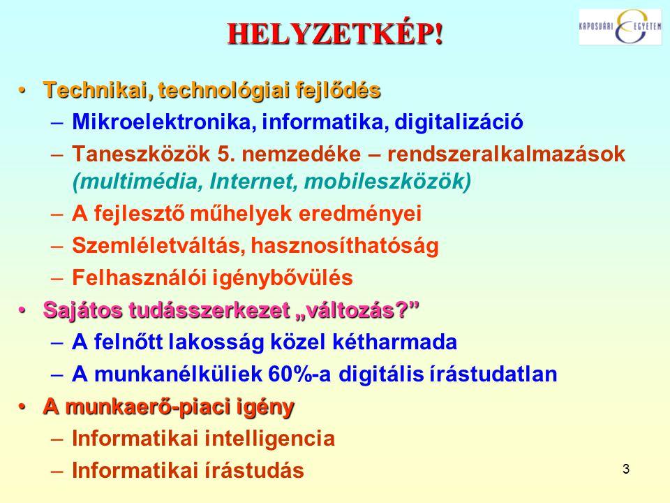 HELYZETKÉP! Technikai, technológiai fejlődés