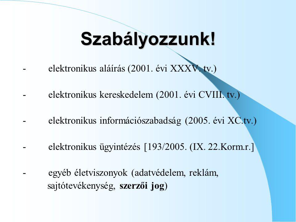 Szabályozzunk! - elektronikus aláírás (2001. évi XXXV. tv.)