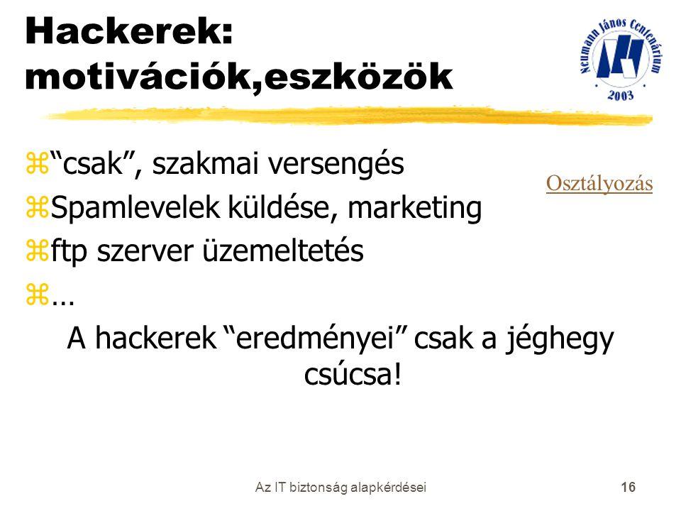 Hackerek: motivációk,eszközök