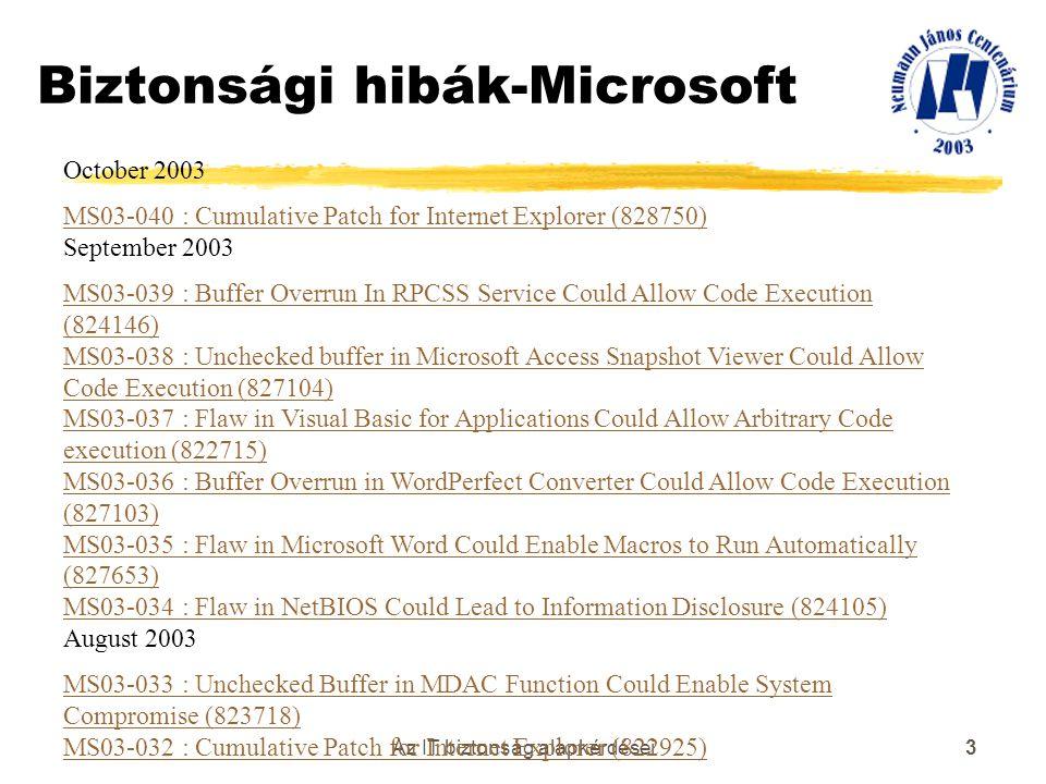 Biztonsági hibák-Microsoft
