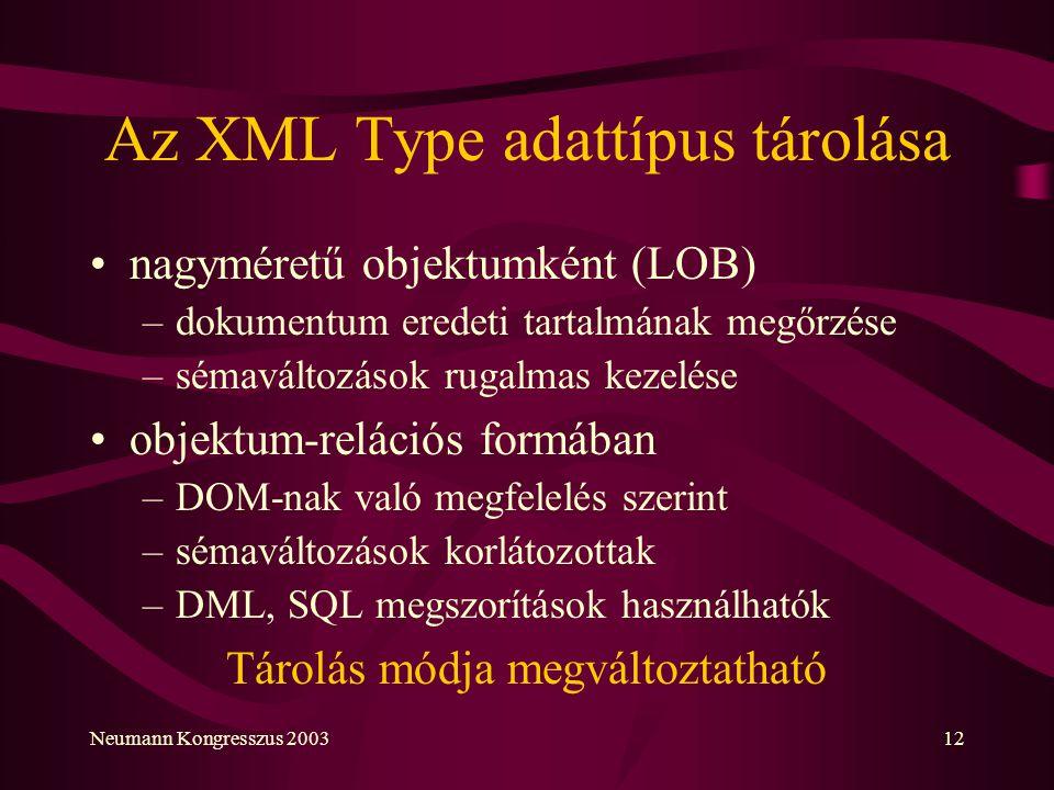 Az XML Type adattípus tárolása