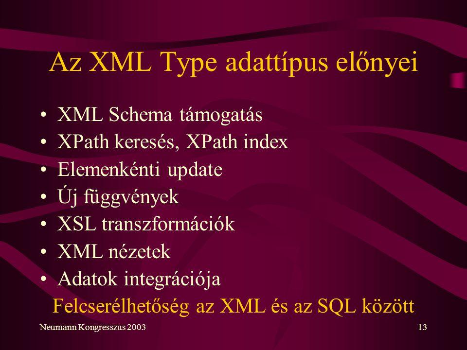 Az XML Type adattípus előnyei