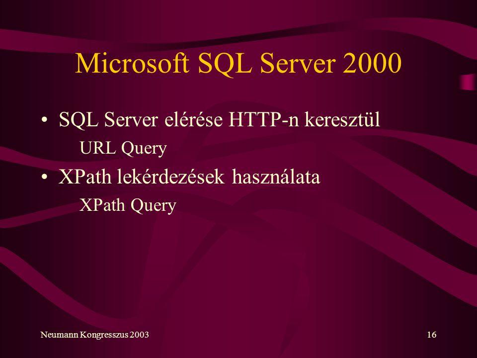Microsoft SQL Server 2000 SQL Server elérése HTTP-n keresztül