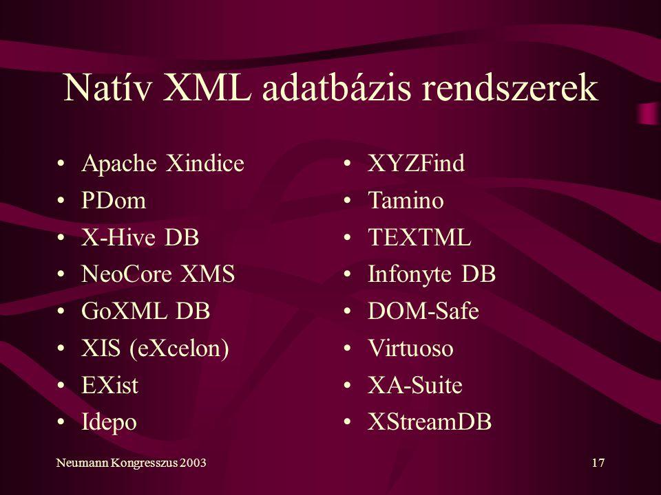 Natív XML adatbázis rendszerek