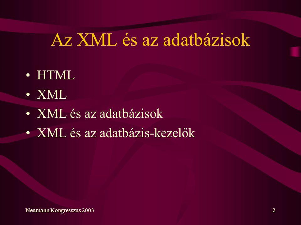 Az XML és az adatbázisok