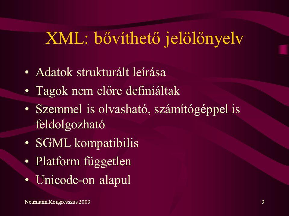 XML: bővíthető jelölőnyelv