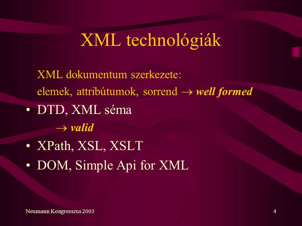XML technológiák DTD, XML séma XPath, XSL, XSLT