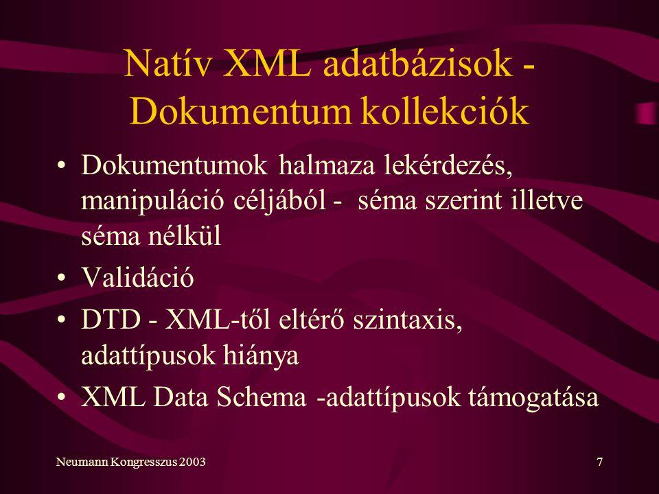 Natív XML adatbázisok - Dokumentum kollekciók