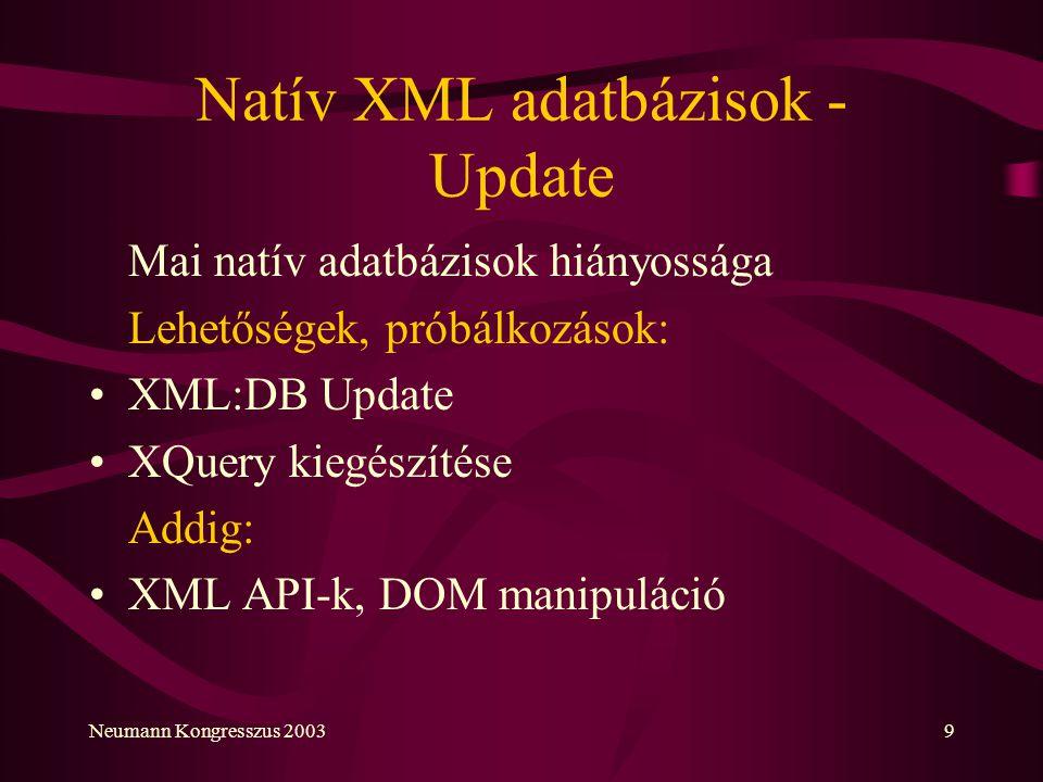 Natív XML adatbázisok - Update