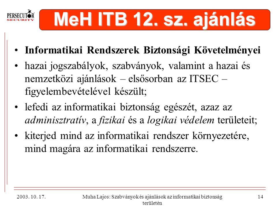 MeH ITB 12. sz. ajánlás Informatikai Rendszerek Biztonsági Követelményei.