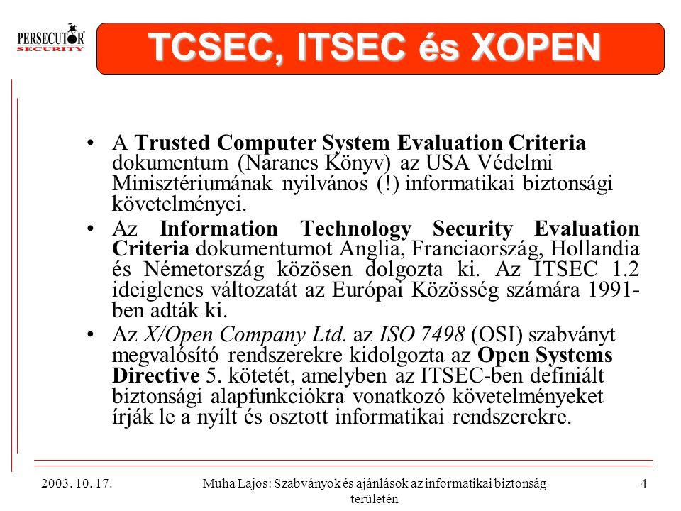 TCSEC, ITSEC és XOPEN