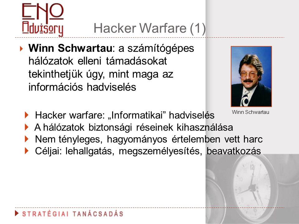 Hacker Warfare (1) Winn Schwartau: a számítógépes hálózatok elleni támadásokat tekinthetjük úgy, mint maga az információs hadviselés.