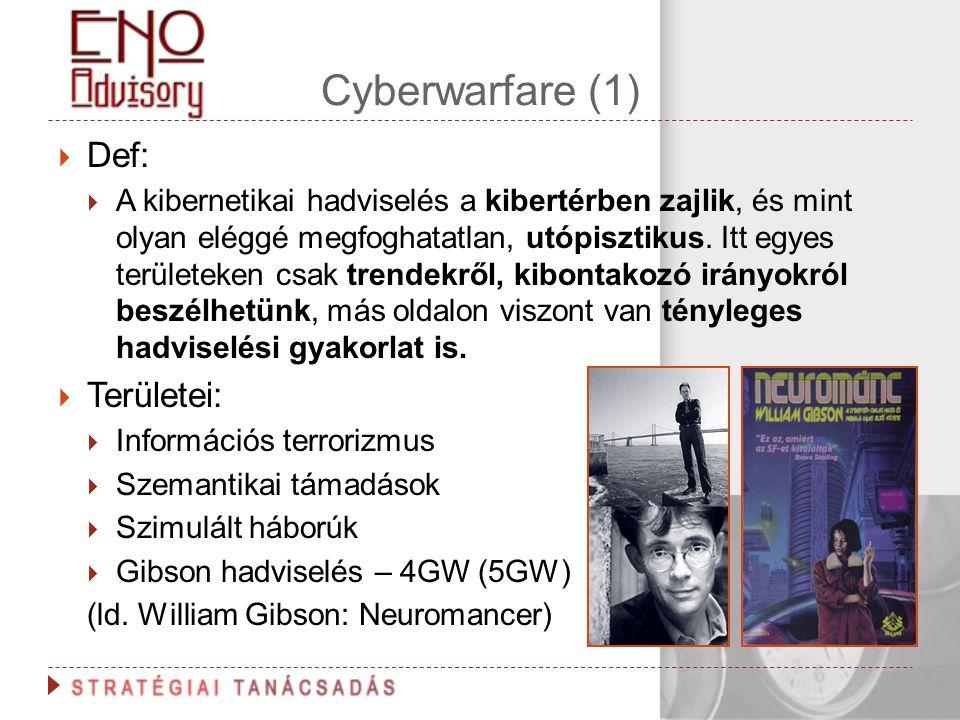 Cyberwarfare (1) Def: Területei: