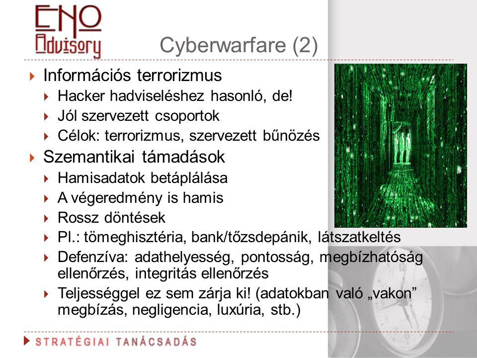 Cyberwarfare (2) Információs terrorizmus Szemantikai támadások