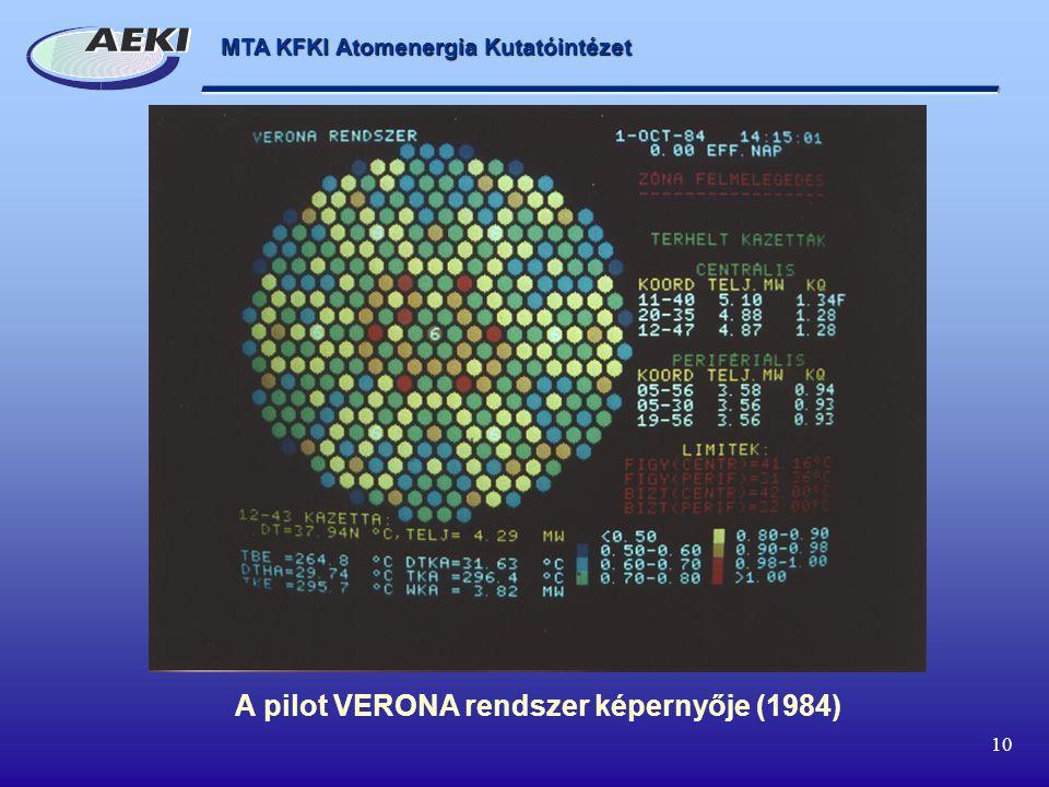 A pilot VERONA rendszer képernyője (1984)