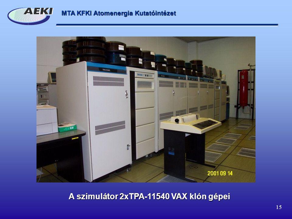 A szimulátor 2xTPA-11540 VAX klón gépei