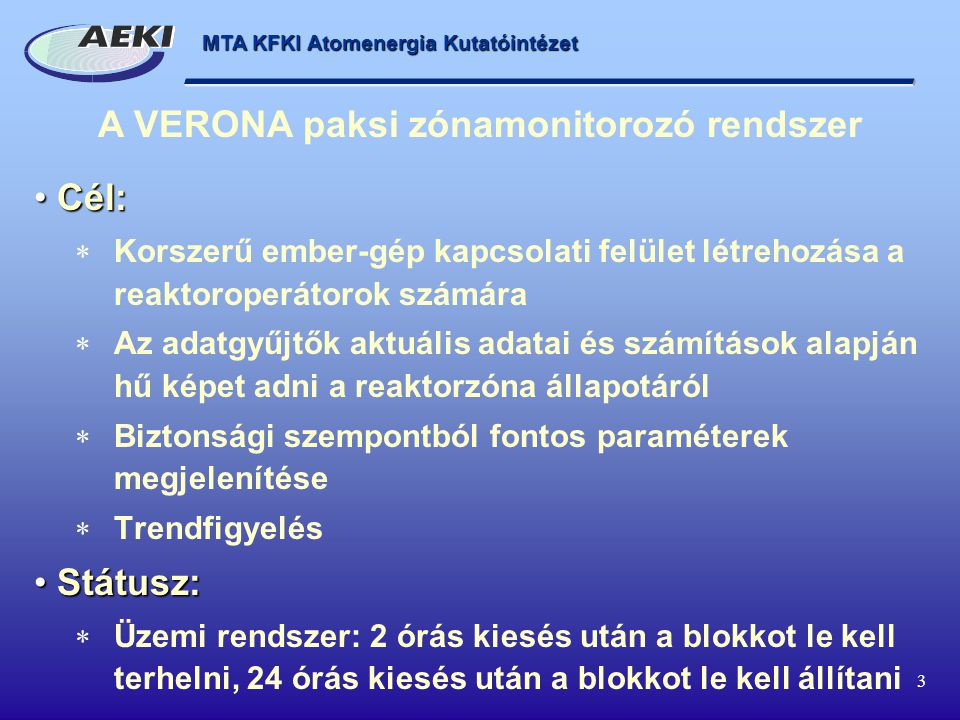 A VERONA paksi zónamonitorozó rendszer
