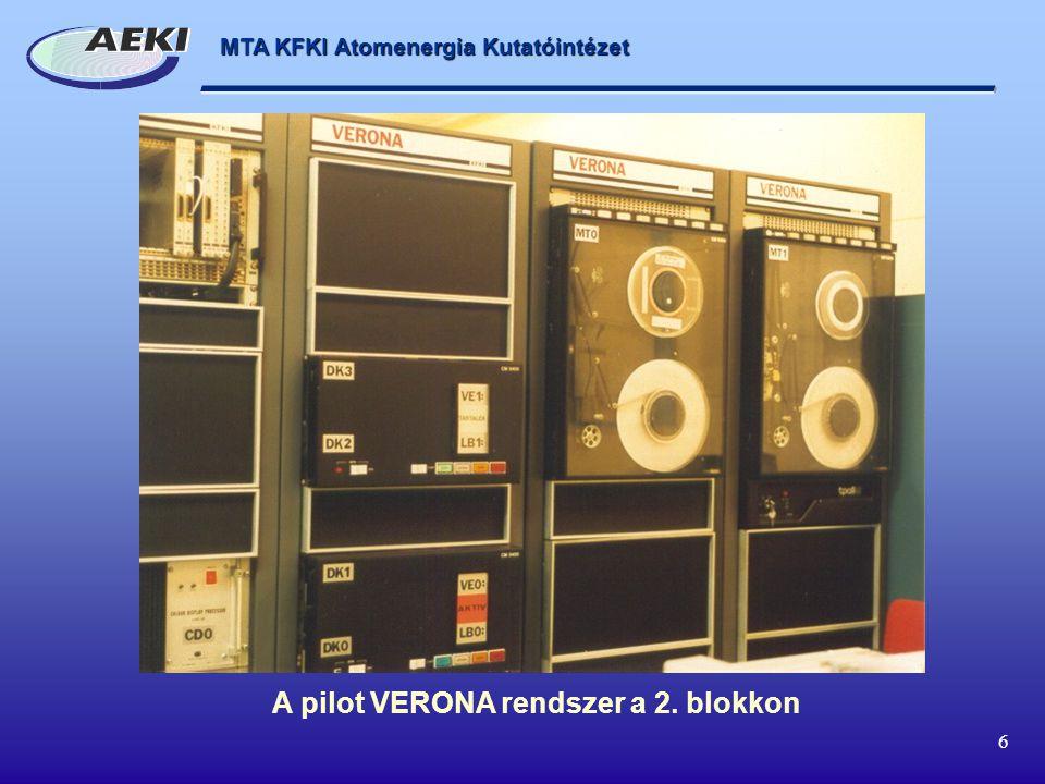 A pilot VERONA rendszer a 2. blokkon