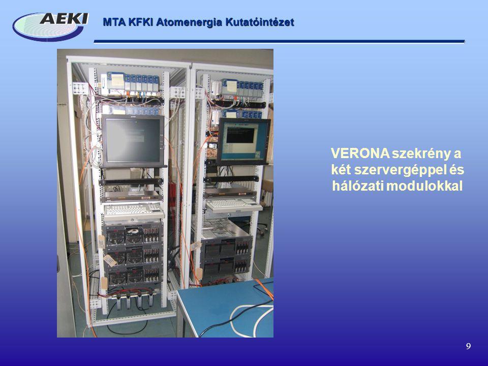 VERONA szekrény a két szervergéppel és hálózati modulokkal