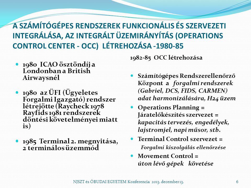 A SZÁMÍTÓGÉPES RENDSZEREK FUNKCIONÁLIS ÉS SZERVEZETI INTEGRÁLÁSA, AZ INTEGRÁLT ÜZEMIRÁNYÍTÁS (OPERATIONS CONTROL CENTER - OCC) LÉTREHOZÁSA -1980-85