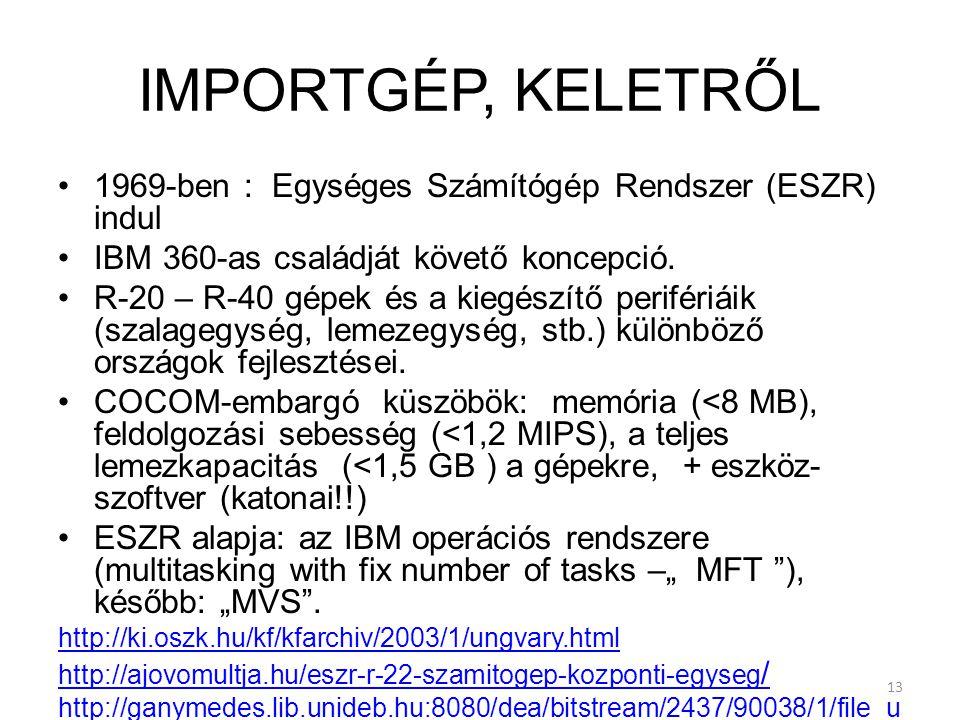 IMPORTGÉP, KELETRŐL 1969-ben : Egységes Számítógép Rendszer (ESZR) indul. IBM 360-as családját követő koncepció.