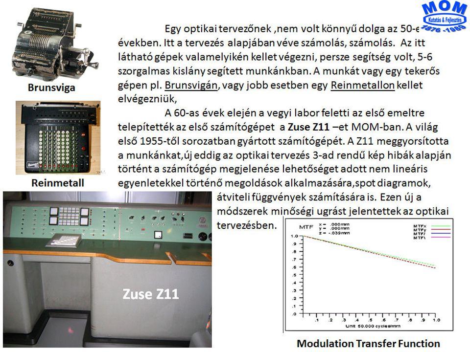 * Találmányok száma Optikai rendszerek Tervezése 1958 Tóth Pál 18*