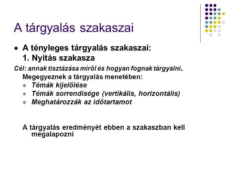 A tárgyalás szakaszai A tényleges tárgyalás szakaszai: