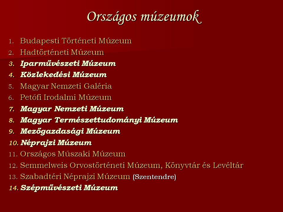 Országos múzeumok Budapesti Történeti Múzeum Hadtörténeti Múzeum