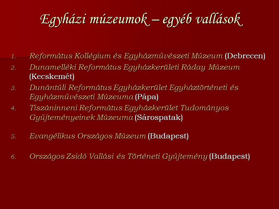 Egyházi múzeumok – egyéb vallások