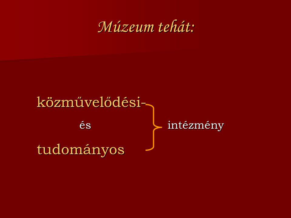 Múzeum tehát: közművelődési- és intézmény tudományos