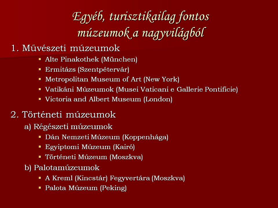 Egyéb, turisztikailag fontos múzeumok a nagyvilágból