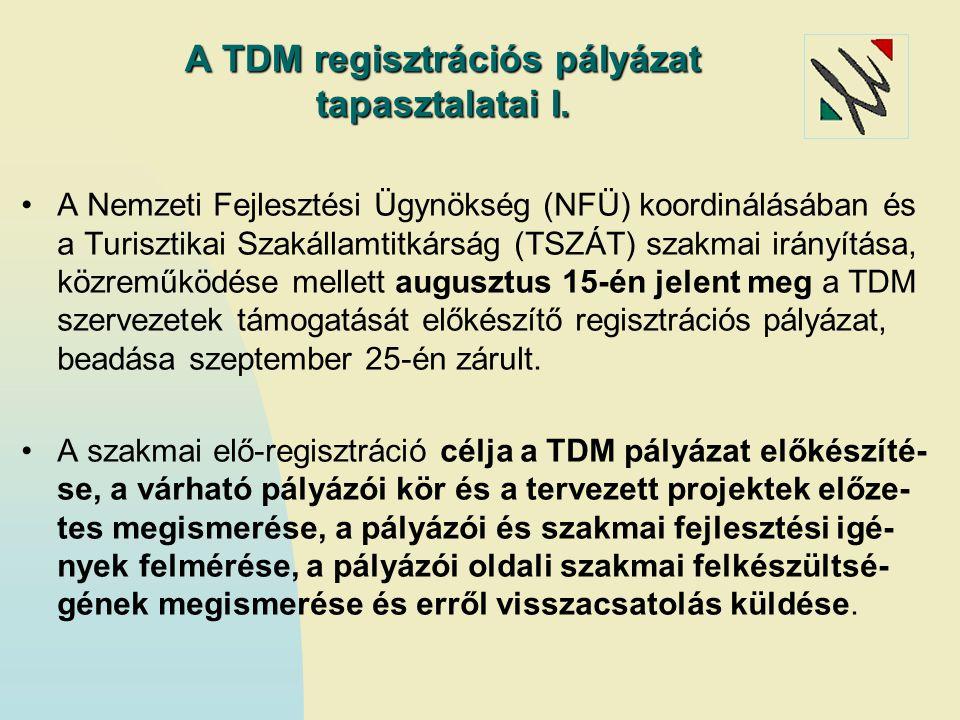 A TDM regisztrációs pályázat tapasztalatai I.