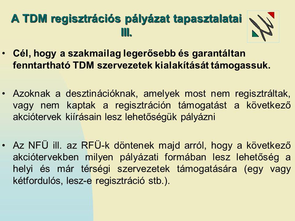 A TDM regisztrációs pályázat tapasztalatai III.