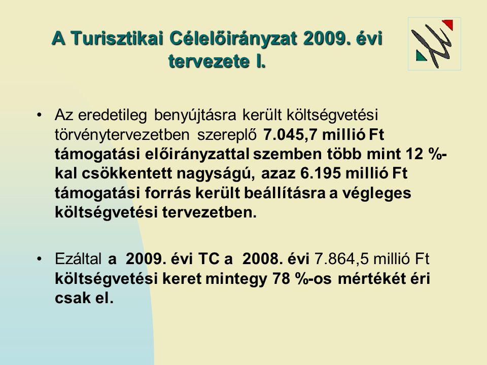 A Turisztikai Célelőirányzat 2009. évi tervezete I.