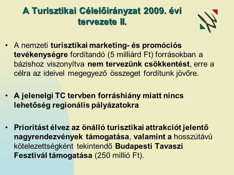 A Turisztikai Célelőirányzat 2009. évi tervezete II.