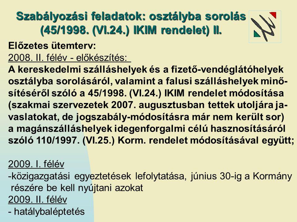 Szabályozási feladatok: osztályba sorolás (45/1998. (VI. 24