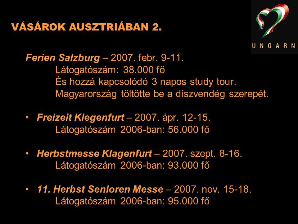 VÁSÁROK AUSZTRIÁBAN 2. Ferien Salzburg – 2007. febr. 9-11. Látogatószám: 38.000 fő. És hozzá kapcsolódó 3 napos study tour.
