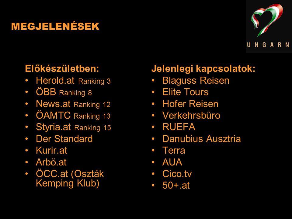 MEGJELENÉSEK Előkészületben: Herold.at Ranking 3. ÖBB Ranking 8. News.at Ranking 12. ÖAMTC Ranking 13.