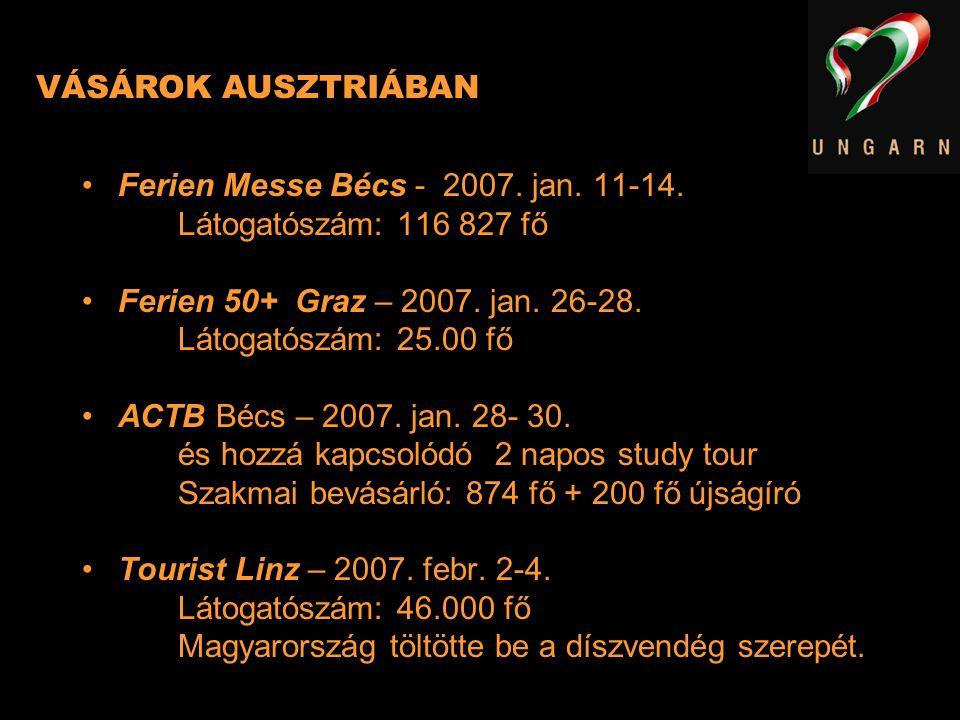 VÁSÁROK AUSZTRIÁBAN Ferien Messe Bécs - 2007. jan. 11-14. Látogatószám: 116 827 fő. Ferien 50+ Graz – 2007. jan. 26-28.